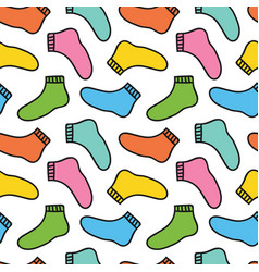 Colorful doodle socks seamless pattern background vector