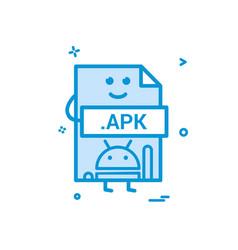 computer apk file format type icon design vector image
