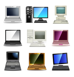 Computer types icons set vector