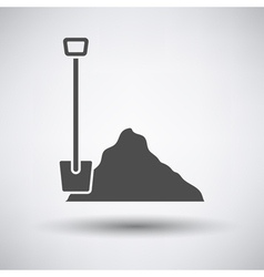 Construction shovel and sand icon vector