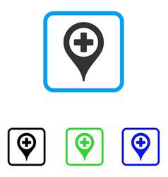 Cross map marker framed icon vector
