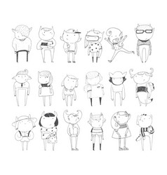Cute monsters set hand drawn collection vector