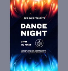 Dance night fest poster template with red and blue vector