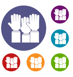 Different people hands raised up icons set vector