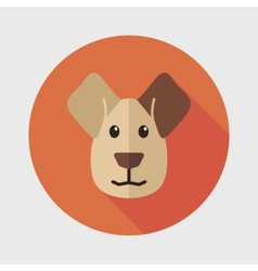 Dog flat icon with long shadow vector