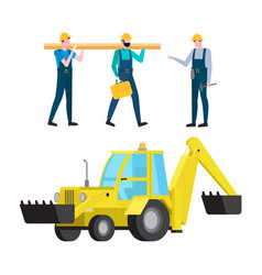 excavator and workers carrying heavy construction vector image