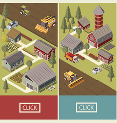 farm vehicles isometric banners vector image