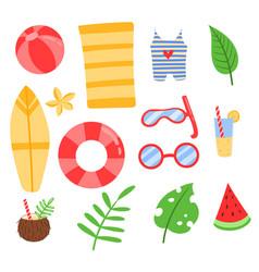 flat doodle cute cartoon summer tropics set beach vector image