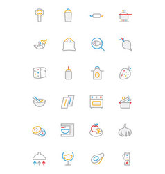 Food colored outline icons 8 vector