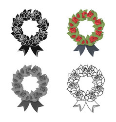 Funeral wreath icon in cartoon style isolated on vector