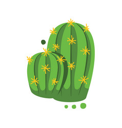 Green cactus with yellow thorns vector