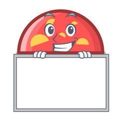 grinning with board semicircle character cartoon vector image