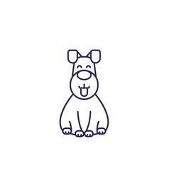 happy dog line icon vector image