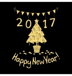 Happy New Year greeting card with spruce vector