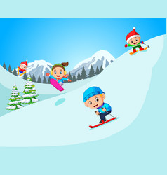 happy skier in high mountain vector image