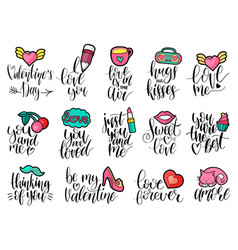 happy valentines day handwritten lettering set vector image