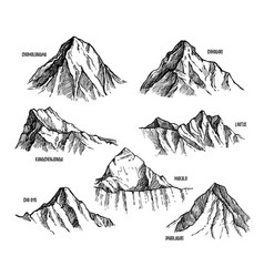 Highest mountains of himalaya nepal set vector