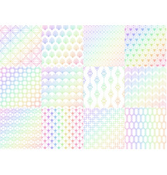 holographic metal rainbow seamless pattern set vector image