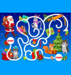 Kids labyrinth maze with christmas characters vector