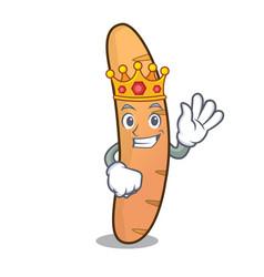 King baguette mascot cartoon style vector