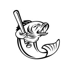 largemouth bass baseball player batting black and vector image