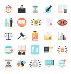 Legal profession icons collection vector