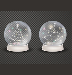 Magic 3d crystal xmas snowglobe template vector