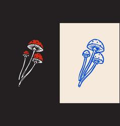 magic mushroom for brewing tattoo design hand vector image