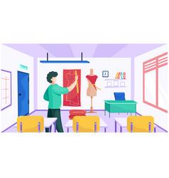 Man shows pupils principles taking vector