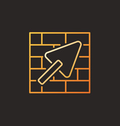 masonry and trowel concept colored linear vector image