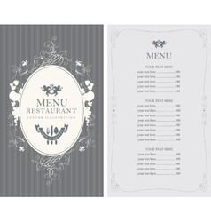 menu with floral ornaments in style baroque vector image