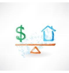 money house balance grunge icon vector image