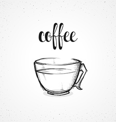 Monochrome coffee in glass dish with calligraphy vector image