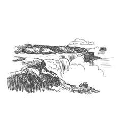 Niagara falls sketch usa nature vector