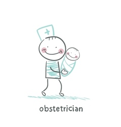 Obstetrician with baby vector