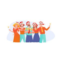 office fun joyful business people in santa claus vector image