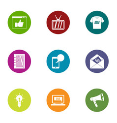 Online advertising icons set flat style vector
