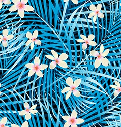 Palm leaves blue seamless pattern with frangipani vector image