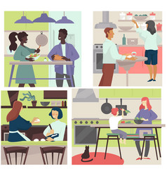 People cooking together and preparing homemade vector