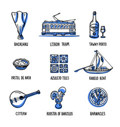 Portugal landmarks set symbols of portugal vector