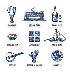 Portugal landmarks set symbols portugal vector