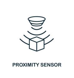 Proximity sensor outline icon thin line style vector