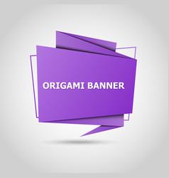 purple origami speech bubble background vector image