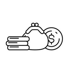 purse dollar money vector image