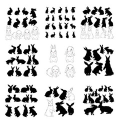 rabbit and hare easter collection - silhouette vector image