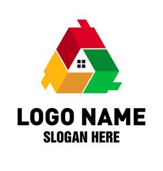 Real estate triple house logo vector