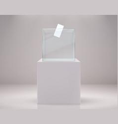realistic vote box election paper ballot 3d vector image