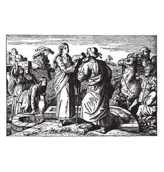 rebecca offers water to eliezer at the well and vector image
