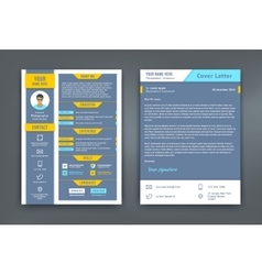 Resume and Cover Letter or CV Template vector image