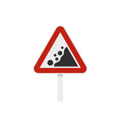 rockfall traffic sign icon flat style vector image